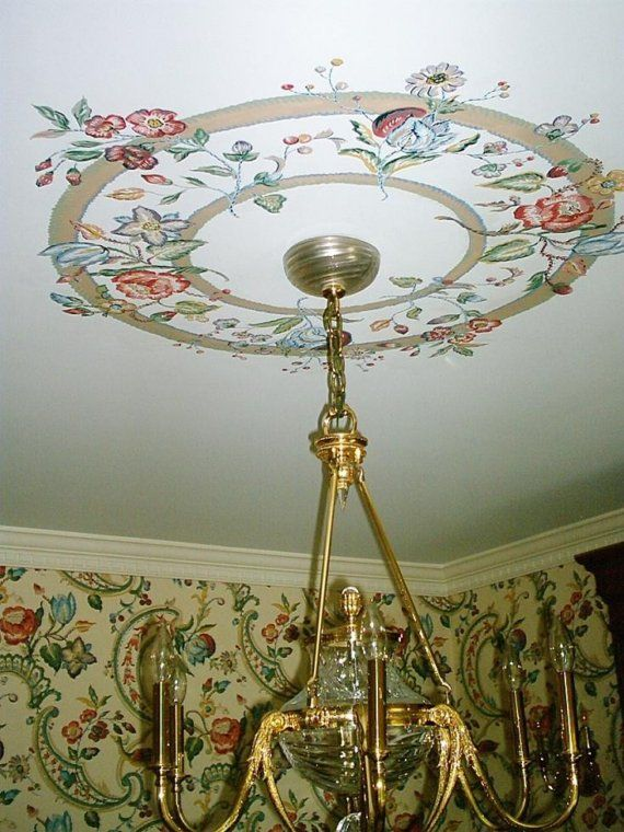 Hand Painted Flower Ceiling Medallion Painted Ceiling Flower Ceiling Ceiling Medallions