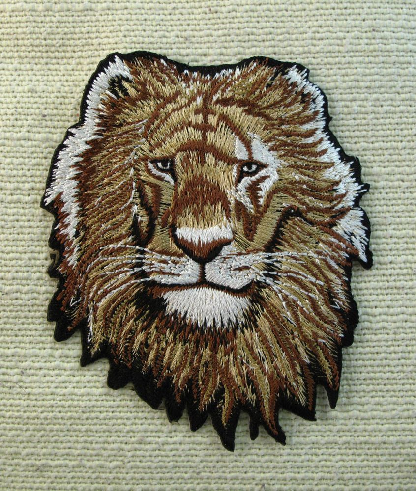 LION  Embroidered Iron On/Sew On Patch