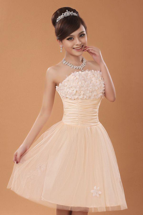 2014 nueva novia color champán superior del tubo vestido corto ...