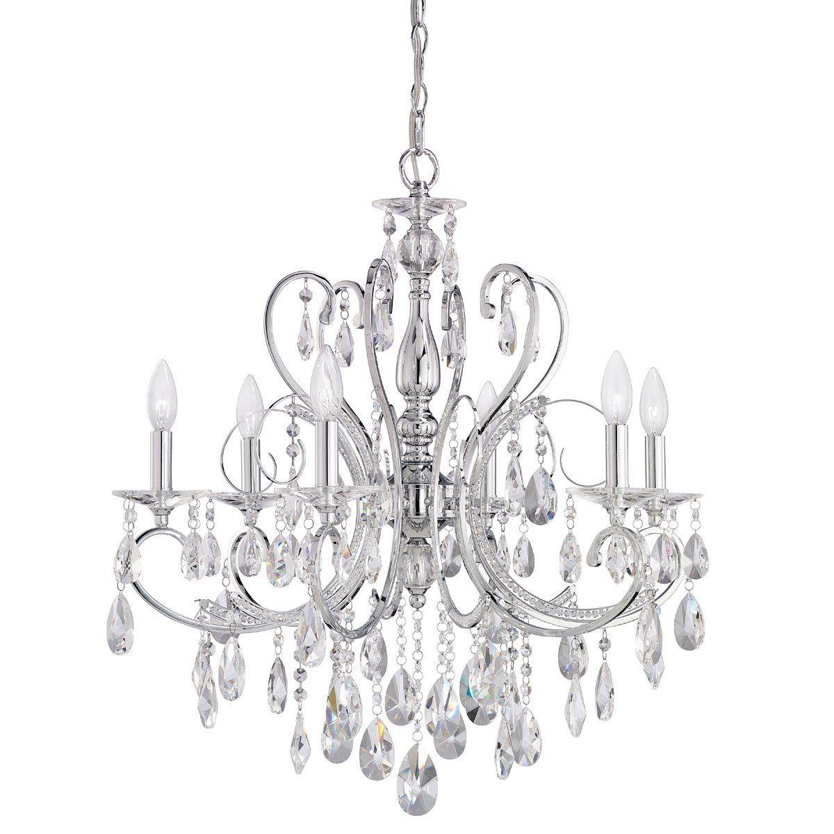Crystal Candle Chandelier Lighting 6 Lights Pendant Ceiling Fixture Lamp 22