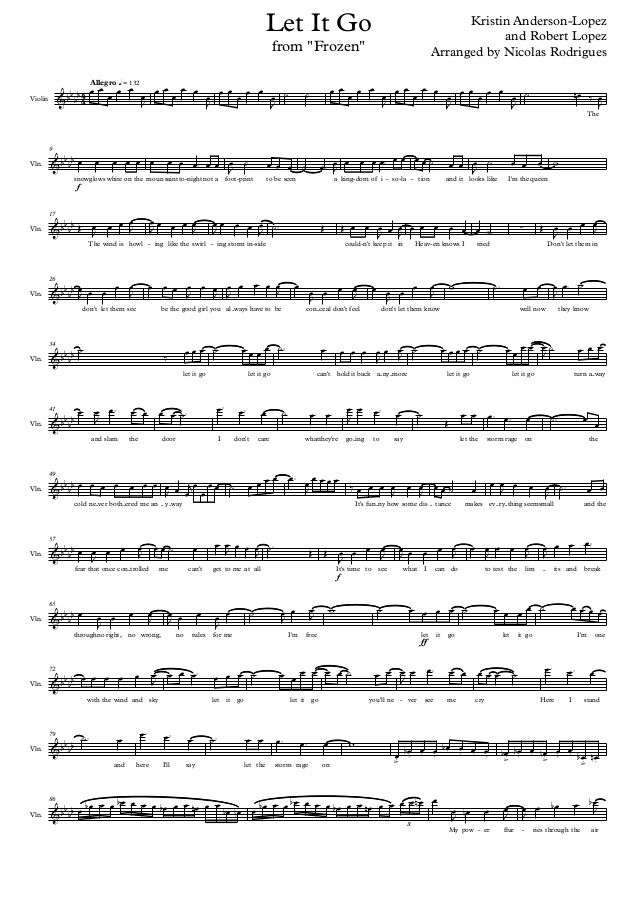 All Music Chords pink panther clarinet sheet music : Disney frozen let it go - violin by Nicolas Rodrigues via ...