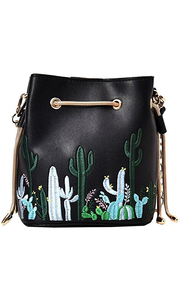 Rdywbu Handmade Flowers Bucket Bags Mini Shoulder Bags With Chain  Drawstring Small Cross Body Bags Pearl Bags Leaves Decals H153  b4d58c1dca49