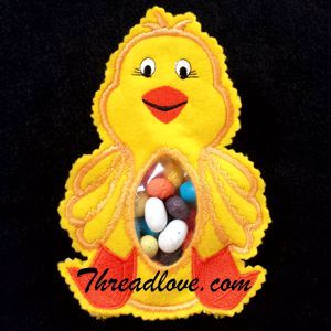 Easter embroidery designs - Easter Chick Candy Bag This In The Hoop Project is very quick to sew and finish.  Included are full instructions with a lot of photos to help you along the way. There's a flap in the back to fill the bag with candy.  This Easter Candy Bags are sure to be a big hit for the little ones, or at craft shows! Add one to a bouquet of spring flowers and you'll have a one of a kind hostess gift.  Use it for baby showers or to give small gifts to children too!