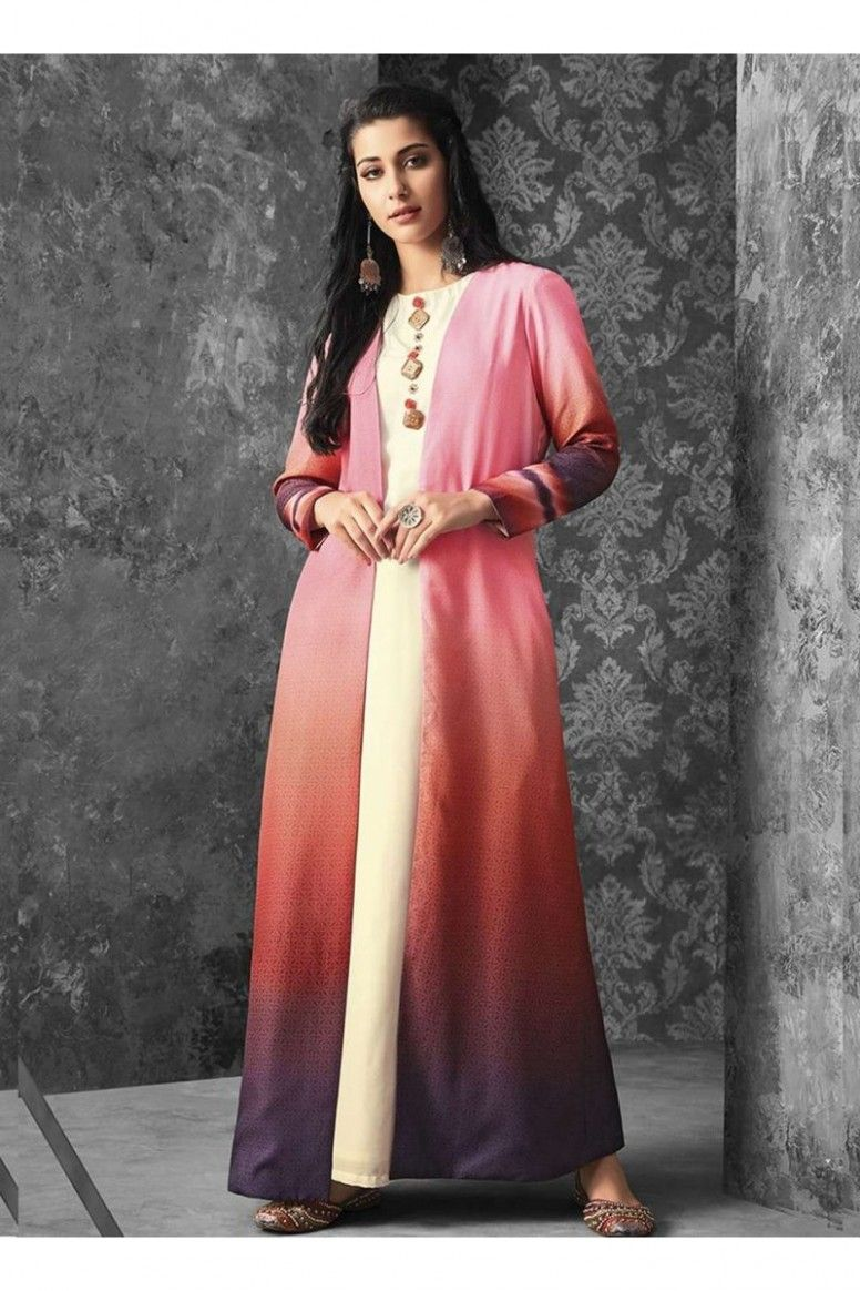 Long Kurti Pr Hairstyle In 2020 Kurti With Jacket Long Skirt And Top Kurti Designs