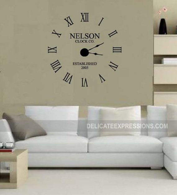 Large Wall Clock Decal W Working Clock Parts Custom Family Etsy Wall Decal Clock Wall Clock Kits Large Wall Clock