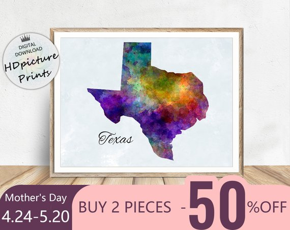 Map Of Texas Texas Print United States Map Decor Commonwealth Of
