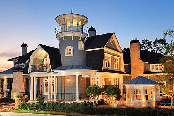 Plan 15756ge Shingle Style Classic With Lighthouse Tower Beach House Plan Luxury House Plans Shingle Style