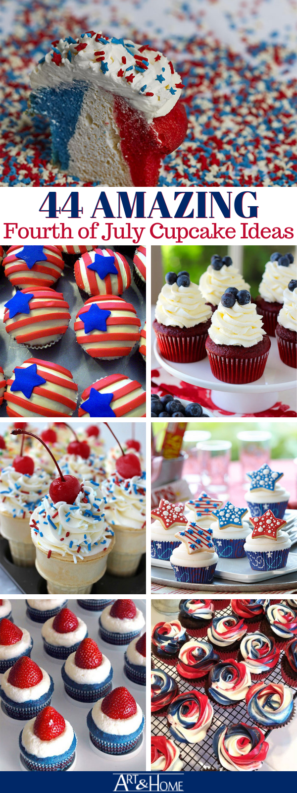 44 Patriotic Fourth of July Cupcakes #holidaysinjuly