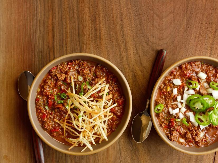 Guy S Texas Chili Recipe Texas Chili Chili Recipes Food Network Recipes
