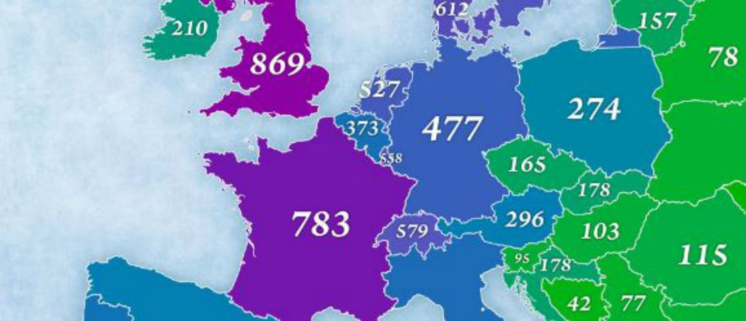 The per capita military spending of European countries in 2015 has been plotted by cartographer Jakub Marian.