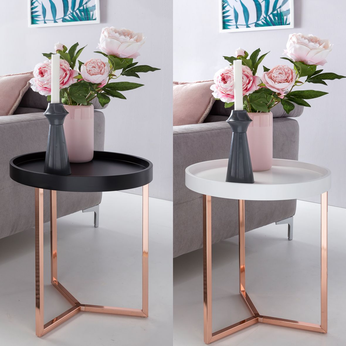 Beistelltisch Give Kupfer 40cm Rund Tablett Couchtisch Tabletttisch Holz Schwarz Couchtisch Metall Design Beistelltisch Wohnzimmertisch