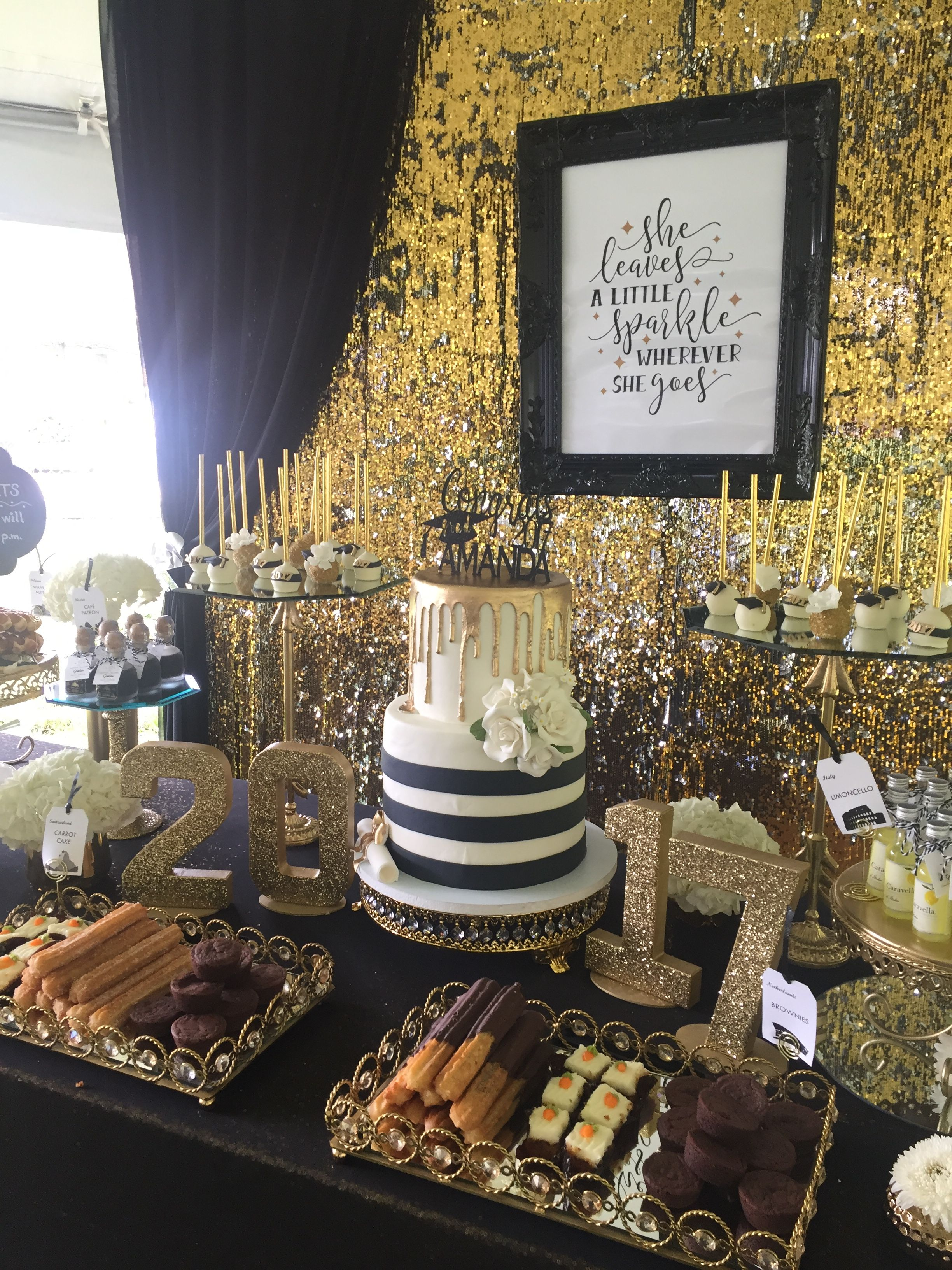 Dessert Table Graduation Party Travel Theme Black White And