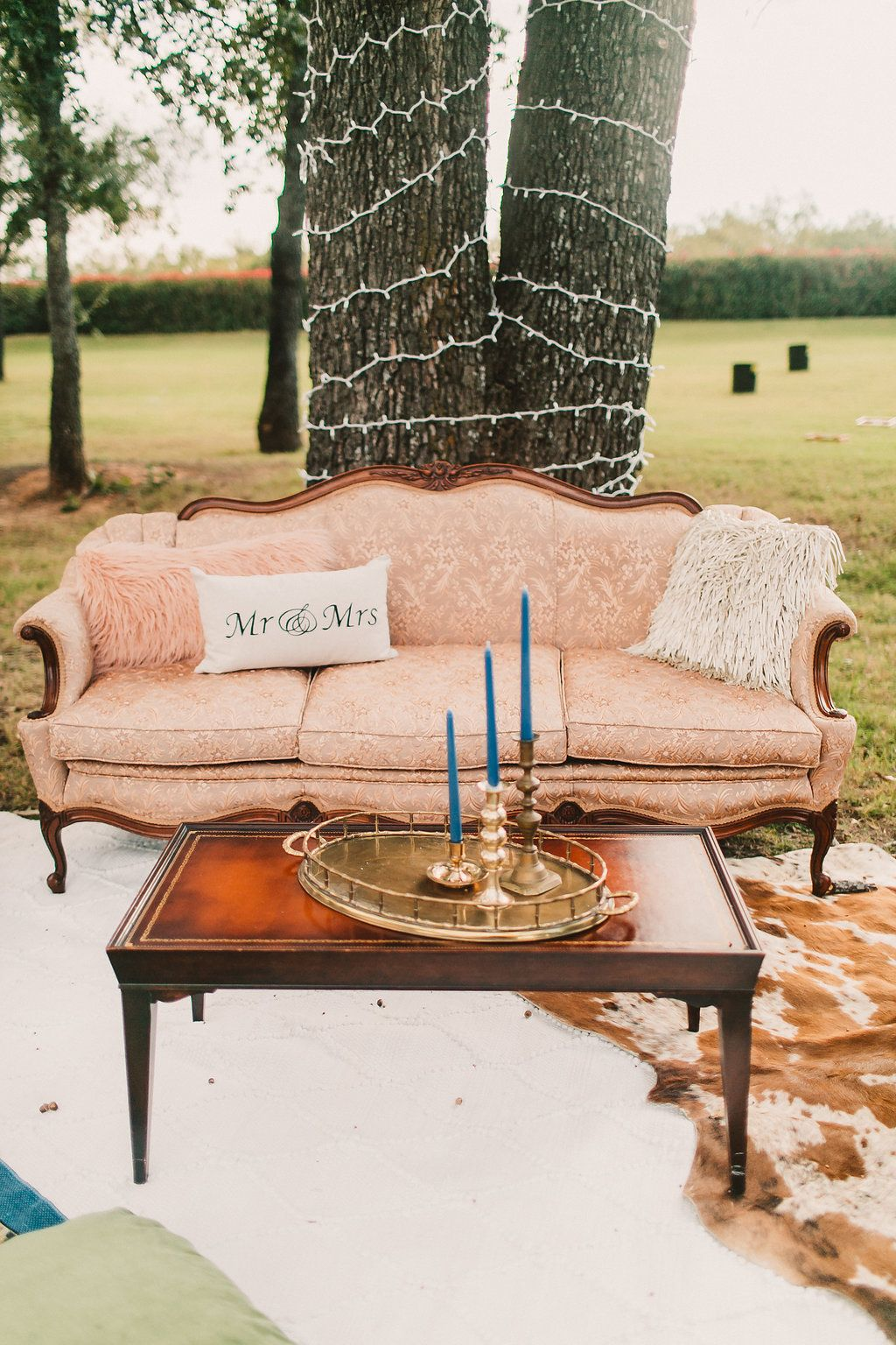 Garden wedding decoration ideas  vintage wedding rentals  wedding reception lounge area  blush pink
