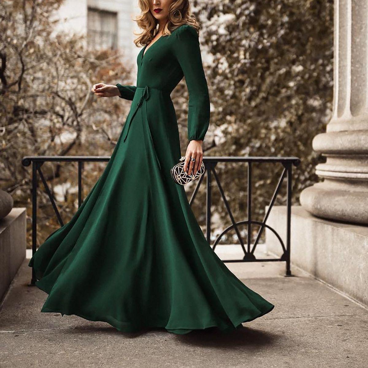 fashion green long sleeve maxi evening dress – keywordcat