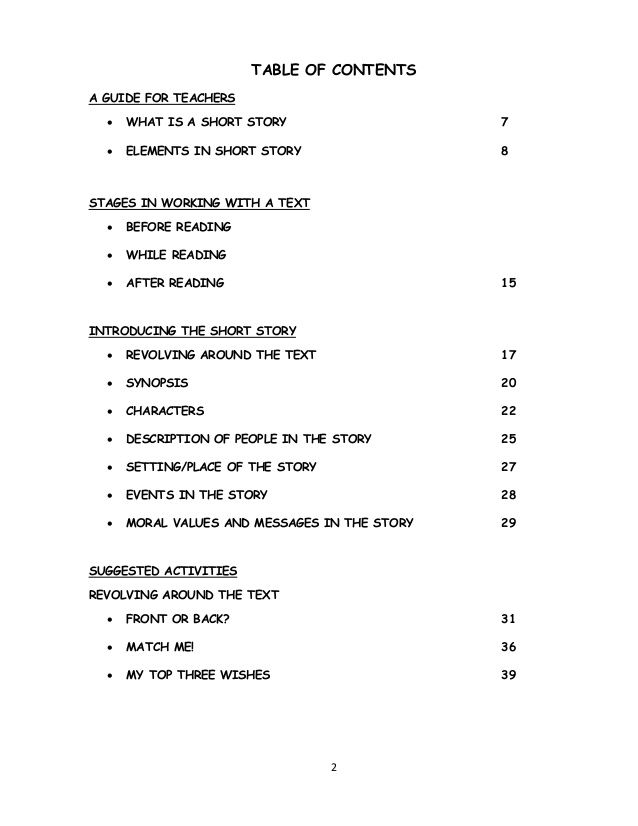 Table Of Contents A Guide For Teachers  What Is A Short Story