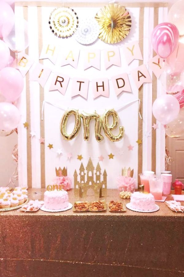 Pink And Gold Princess Birthday Party Ideas Photo 5 Of 6 Gold Birthday Party Decorations 1st Birthday Girl Decorations Girl Birthday Decorations