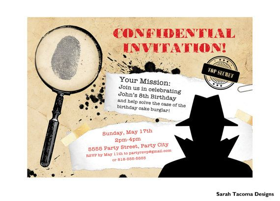 Secret agent spy birthday party invitation customized printable party invitations stopboris Images