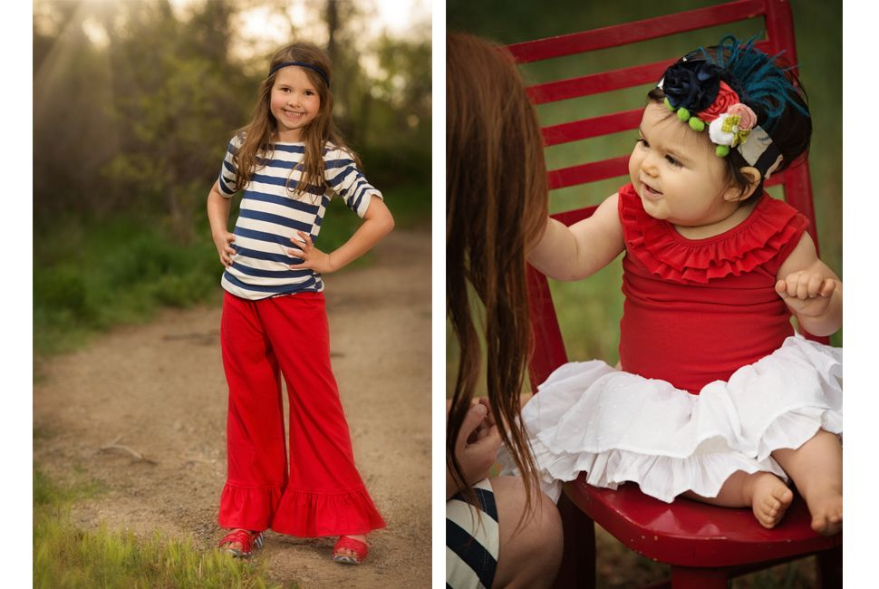 www.frostedproductions.com | #utah #commercial #photographer #cute #little #girl #child #model #red #pants #stripes #dirt #trail