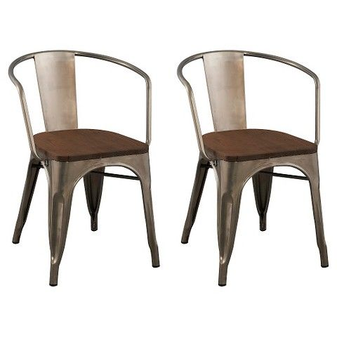 Carlisle Dining Chair With Wood Seat   Distressed Metal (Set Of 2)