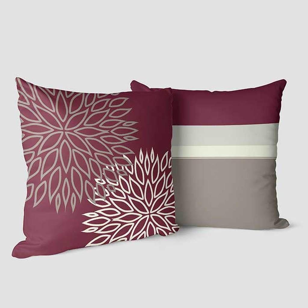 burgundy wine gray decorative pillow