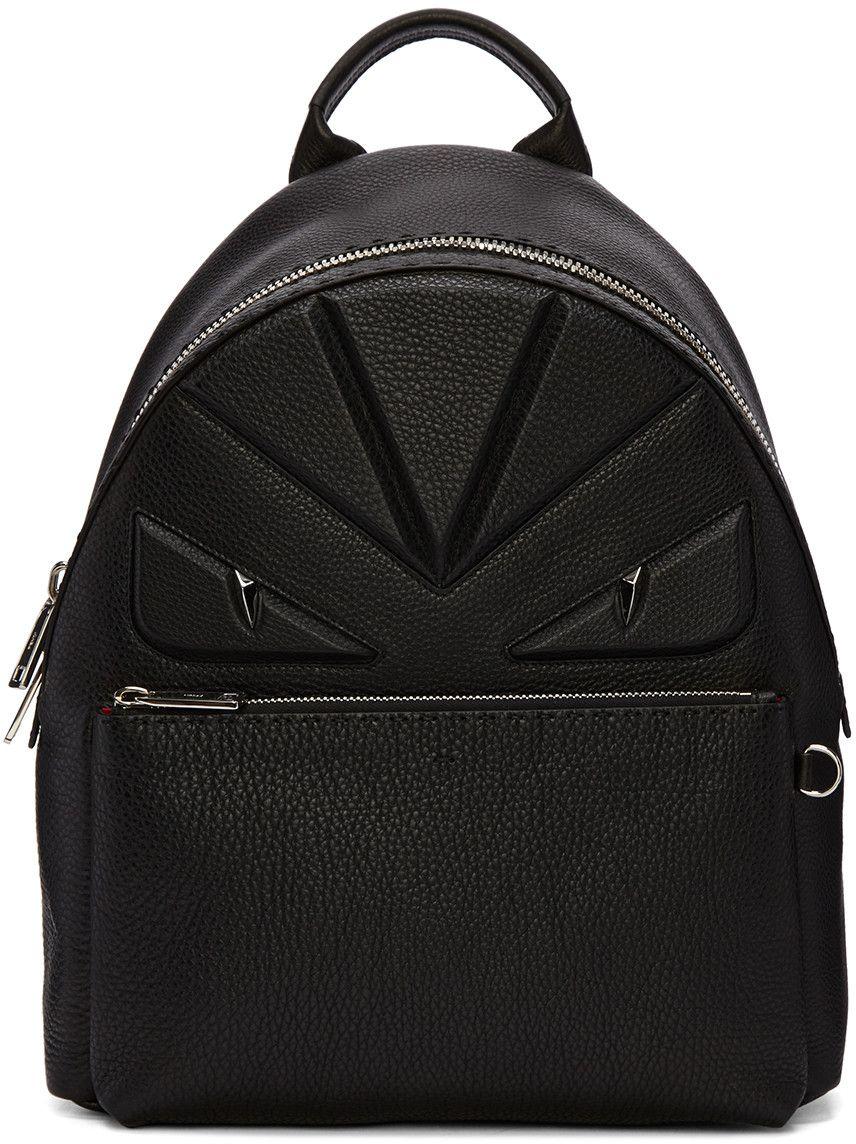 9eb6e89c FENDI Black Monster Backpack. #fendi #bags #leather #backpacks ...