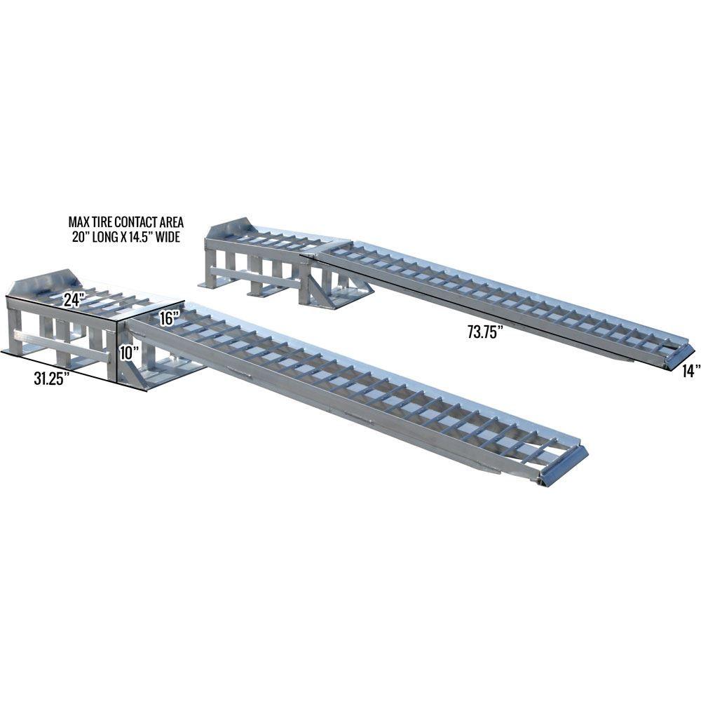Extra Long Aluminum 2 Piece Car Service Ramps 3 000 Lbs Per Axle Capacity Hydraulic Car Lift Hydraulic Car Ramps Metal Shop Building