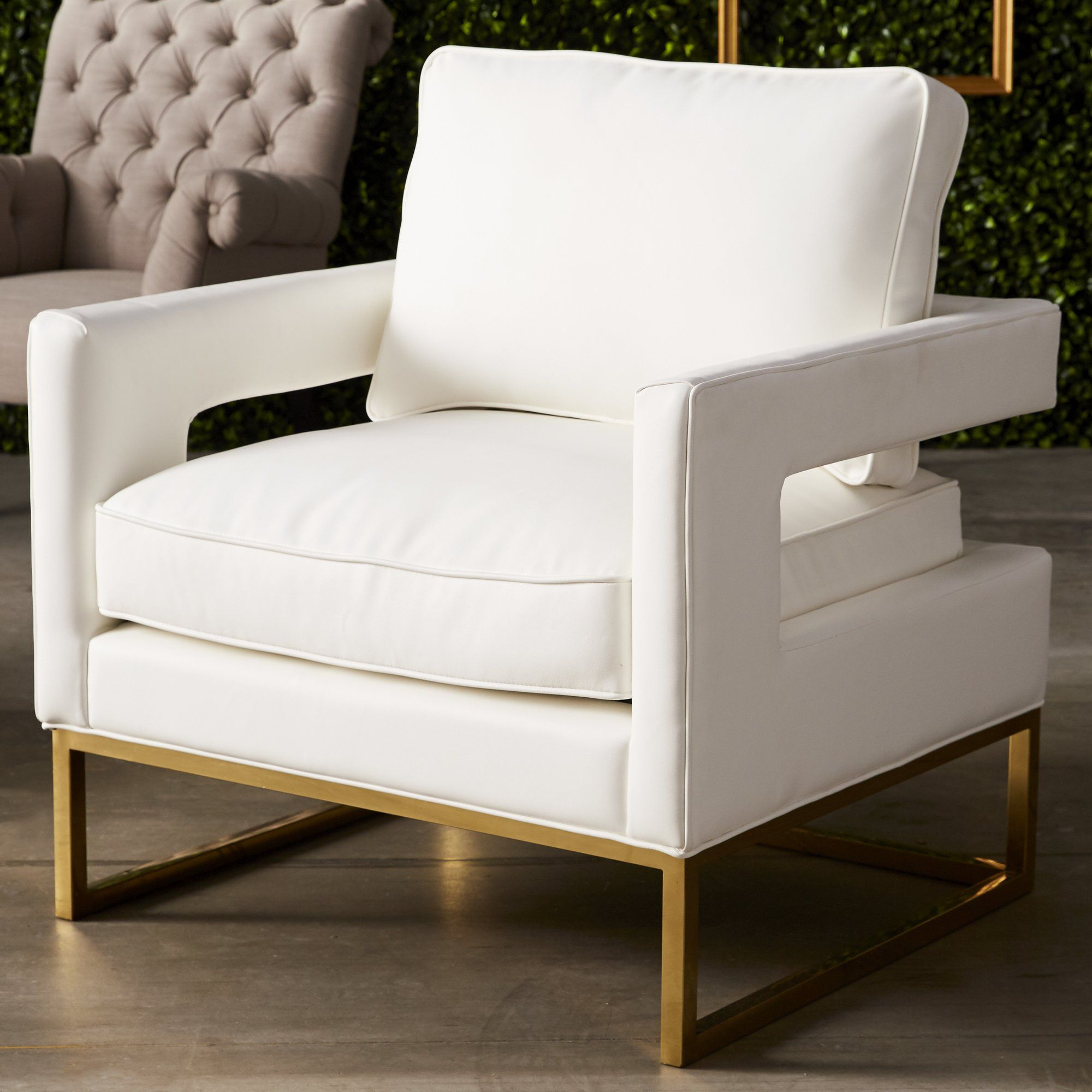 Aloisio Genuine Leather Upholstery Armchair | BLACK WHITE GOLD ...