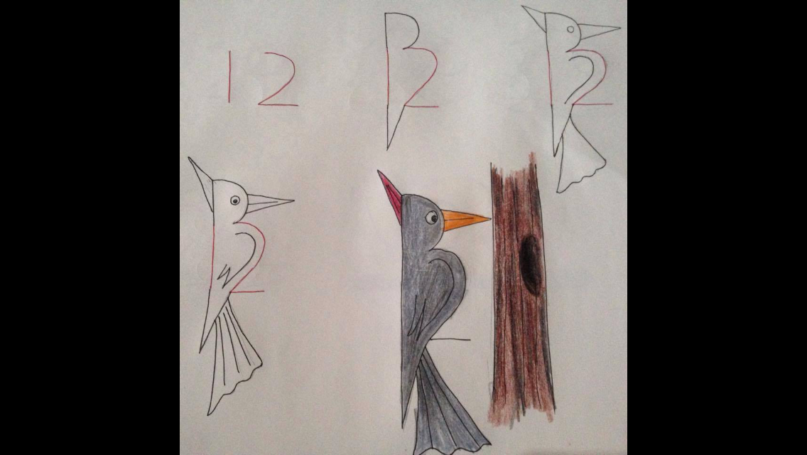 Draw an easy father and chick woodpecker from numbers with your child. Talk with your child how the father teaches his young to survive and works to save them. Share with them how Jesus does this for them. #crafts #spiritualparenting #drawing