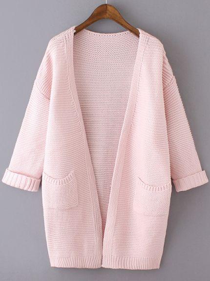 Розовый вязаный свободный кардиган с карманами | Clothes, Crochet ...