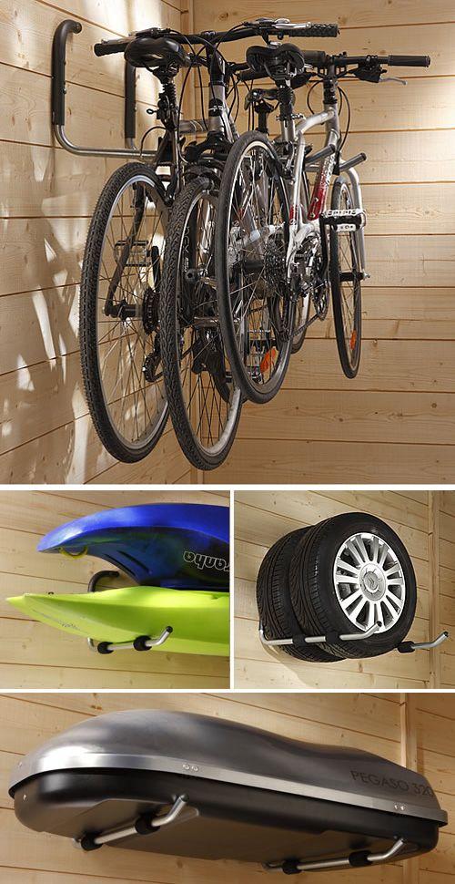 Set of 2 Bike / Car Roof Top Box Storage Hooks Garage in