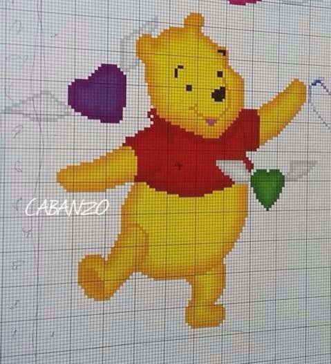 Winnie punto de cruz cab pinterest punto de cruz punto y patrones - Alfombra winnie the pooh ...