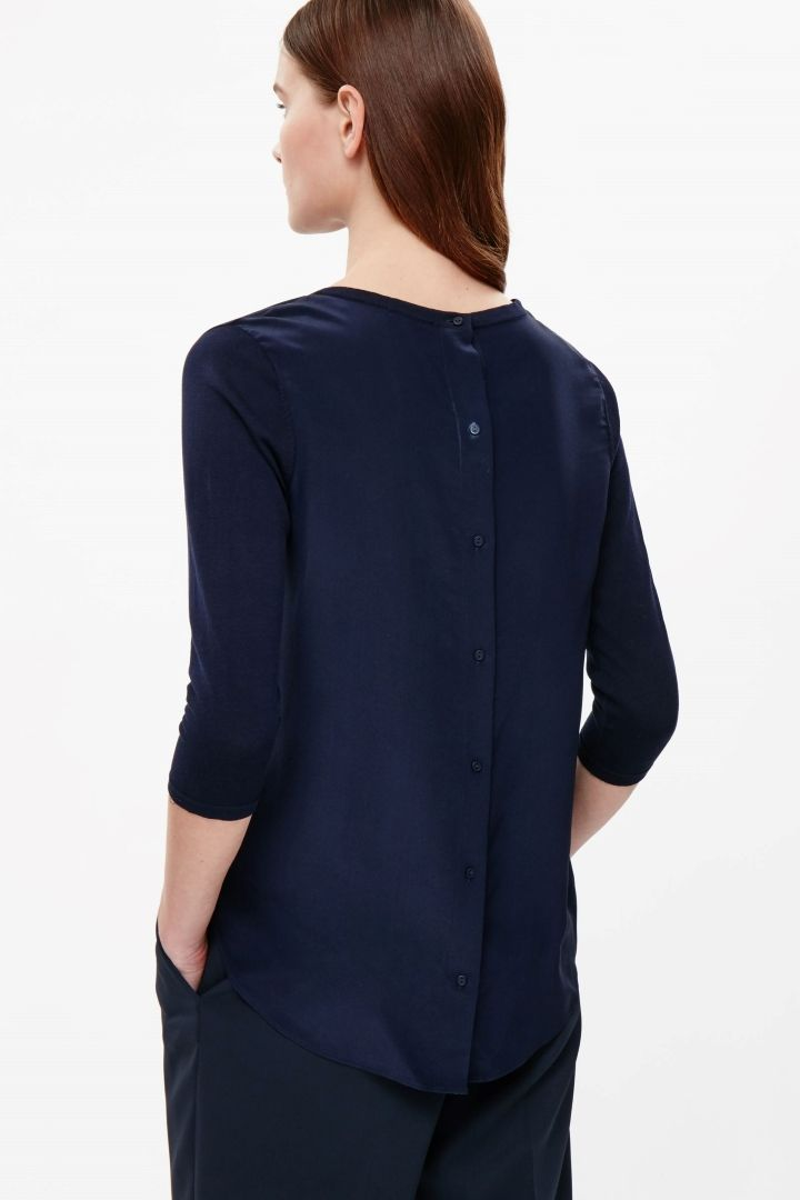 Top with silk back panel
