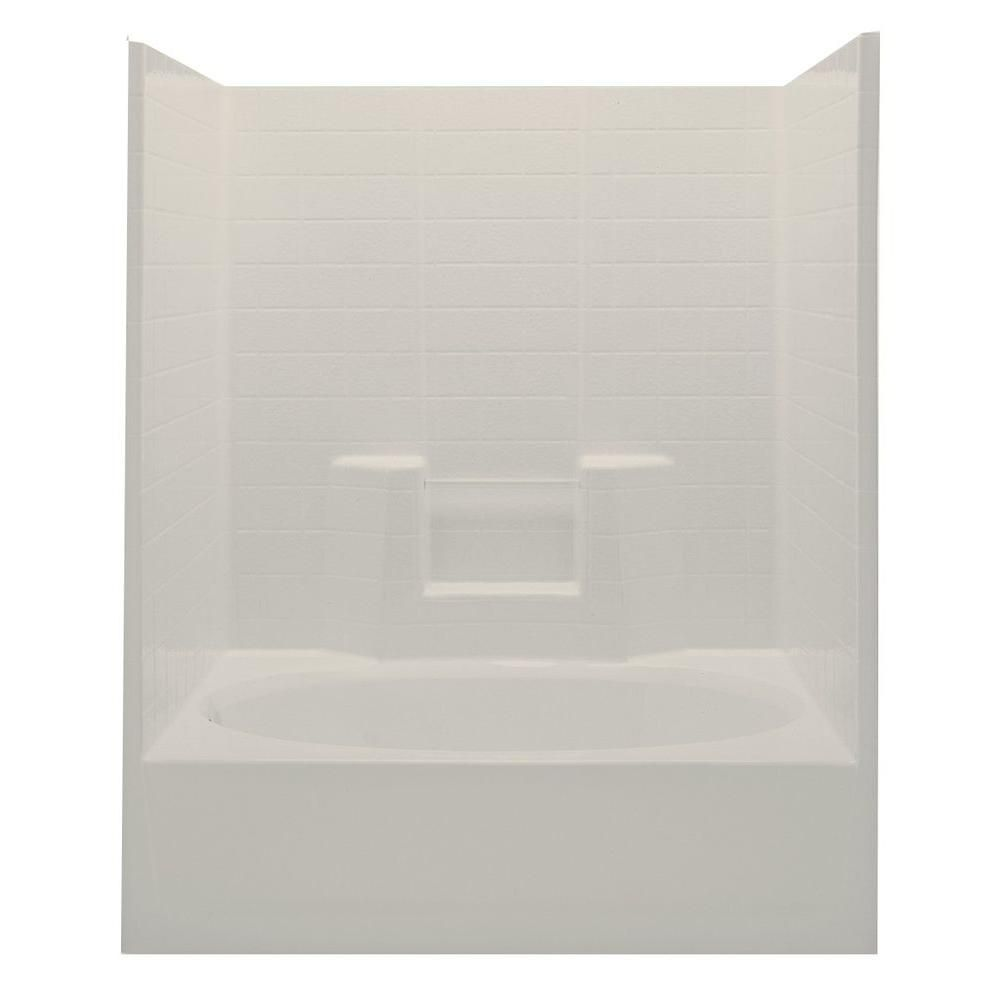 Aquatic Everyday Textured Tile 60 in. x 36 in. x 72 in. 1-Piece Bath ...