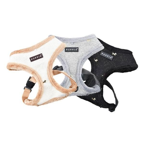 Puppia fleece lined Gia harnesses Available at www