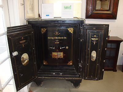 Fabulous Antique Herring Hall Marvin Double Door Safe Original