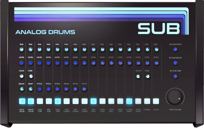 Sampleson SUB Analog Drums, Free Virtual Drum Instrument