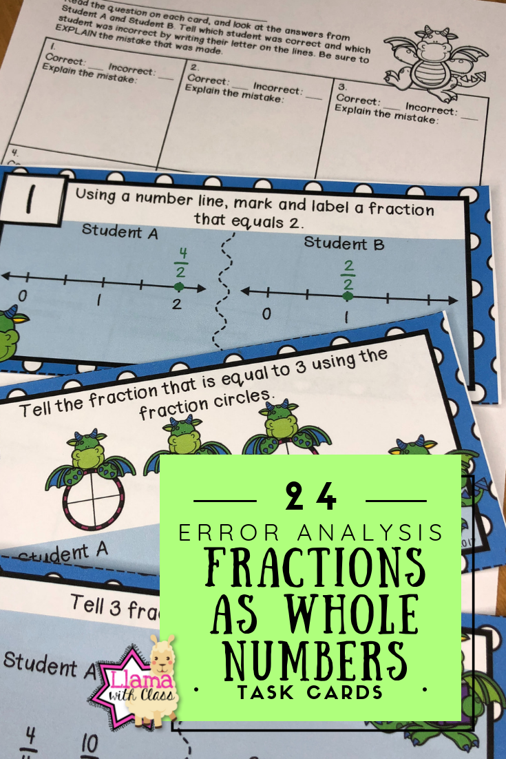 Fractions as Whole Numbers Error Analysis Task Cards   Upper