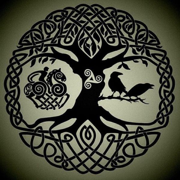 Yggdrasil, Odin riding Sleipnir, Huginn & Muninn.