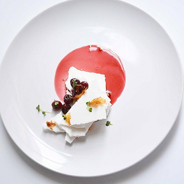 Mont Blanc. Meringue shards, chestnut cream, cherries poached in spiced wine, & crispy duck skin glazed with passion fruit.   by  Johana Langi (langijo) on IG