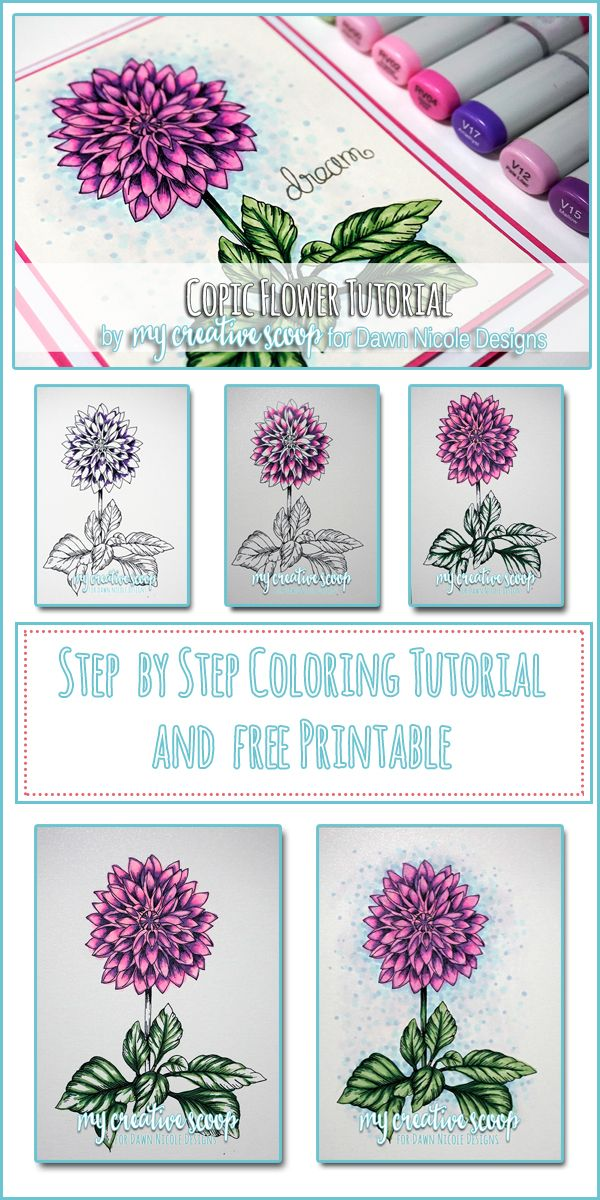 Coloring A Flower Copic Tutorial V17 V15 V12 RV04 RV02 RV00 G28 G21 G24 B41 BG000