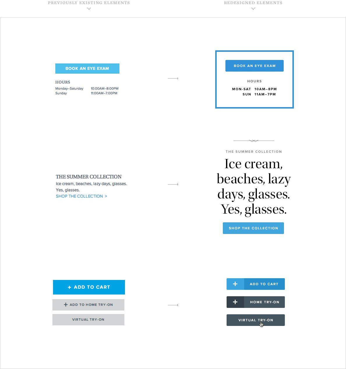 Pemberton - Warby Parker redesigned elements | Web & UI