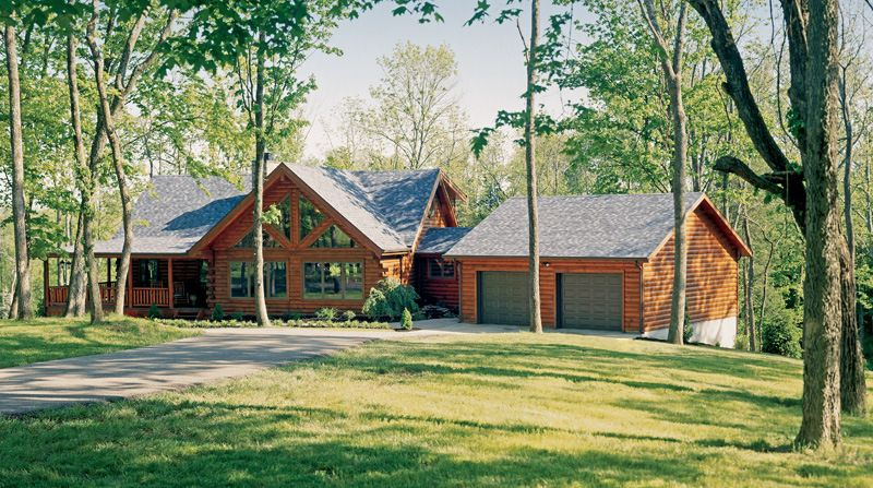 Adding attached garage with breezeway pictures attached for Log home plans with garage