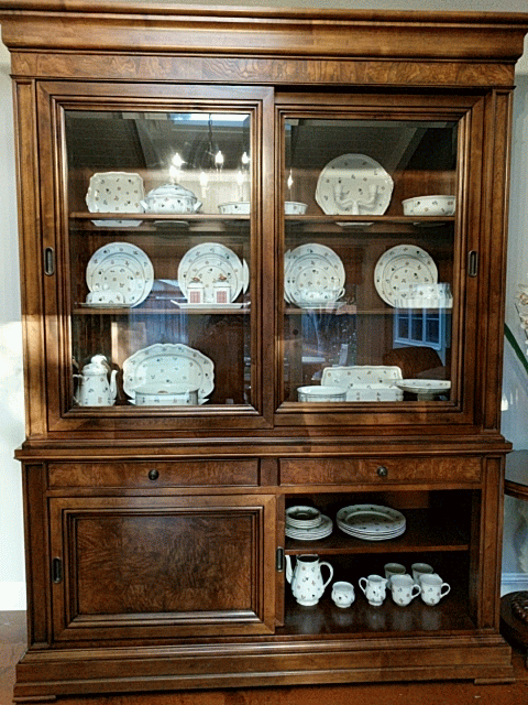 Meticulously Cared For China Cabinet With Interior Lighting To Beautifully Display Your Versatile Set Up Sliding Door Breakfront