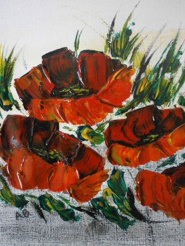 Impasto poppies 3 by alan brunt artfinder flowers art