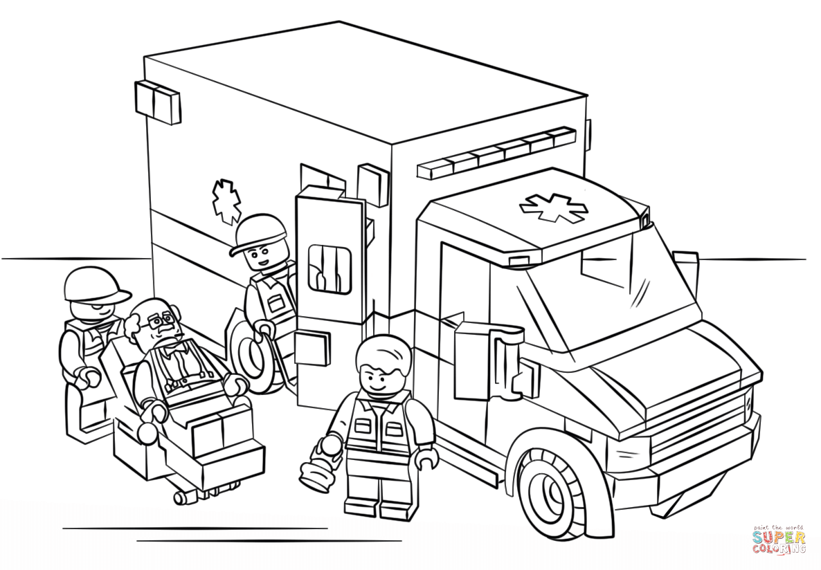 Lego Ambulance Super Coloring Lego coloring pages