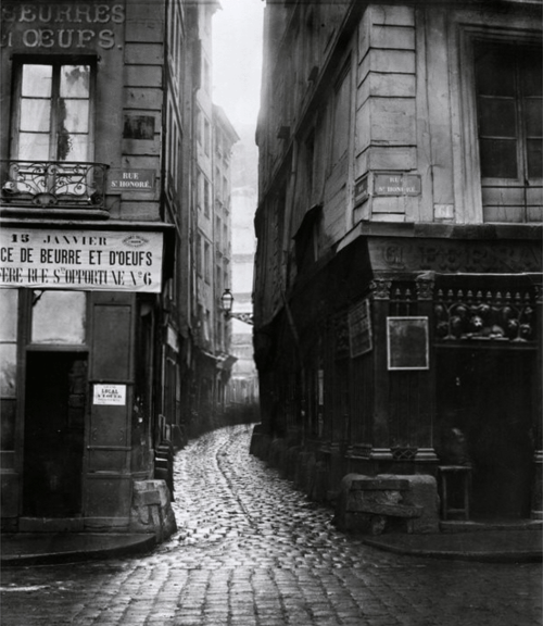 charles marville, rue tirechappe, from rue saint-honoré, paris, 1858-78    a bit sad the street doesn't exist anymore. i'd have loved to have a look.