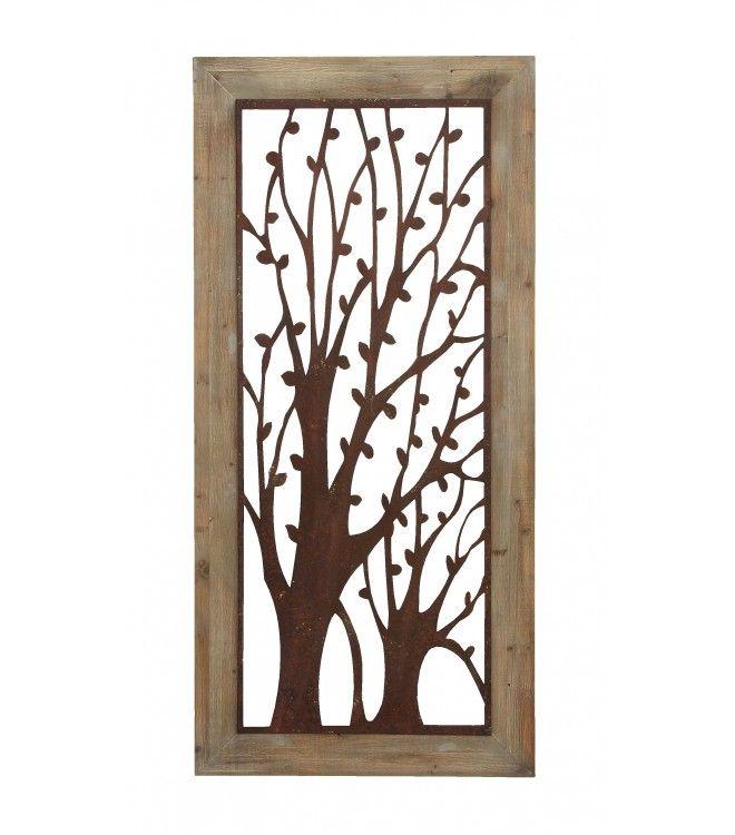 Metal Tree Wall Art Wood Frame | Metal tree wall art, Metal tree ...