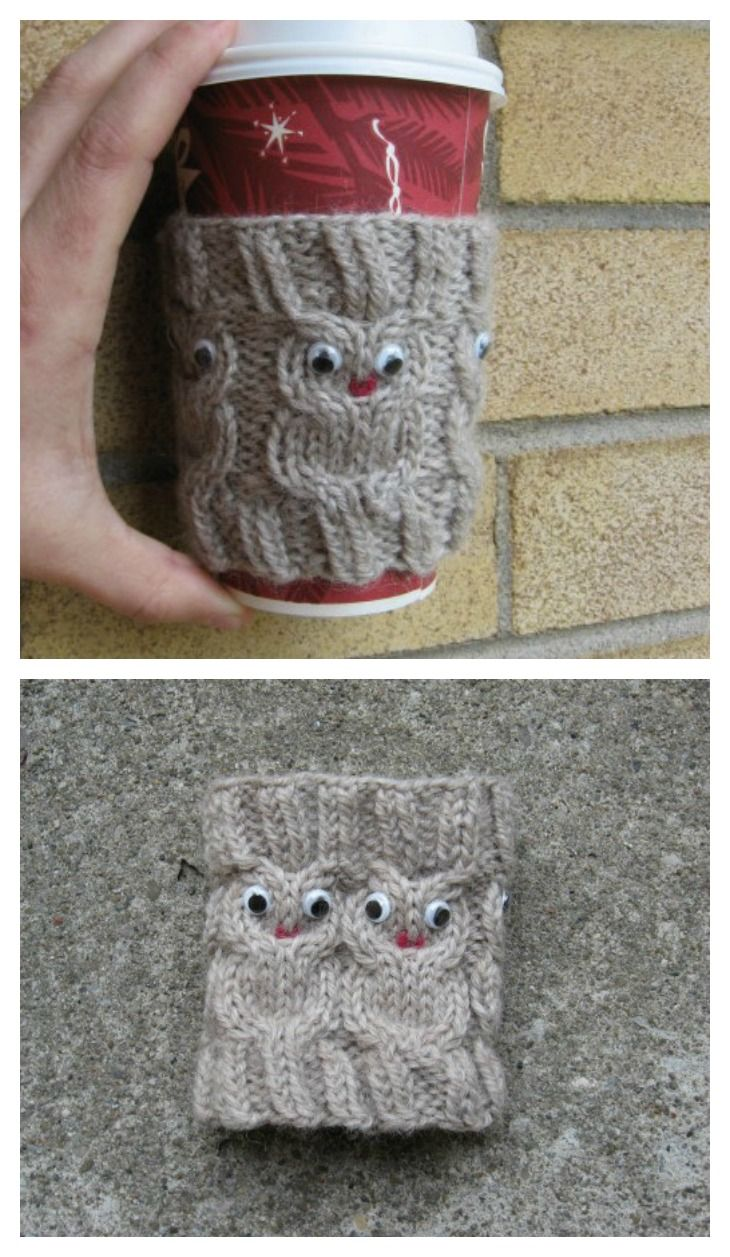 Owl Coffee Cozy FREE Knitting Pattern - Great Gift for Coffeee or ...
