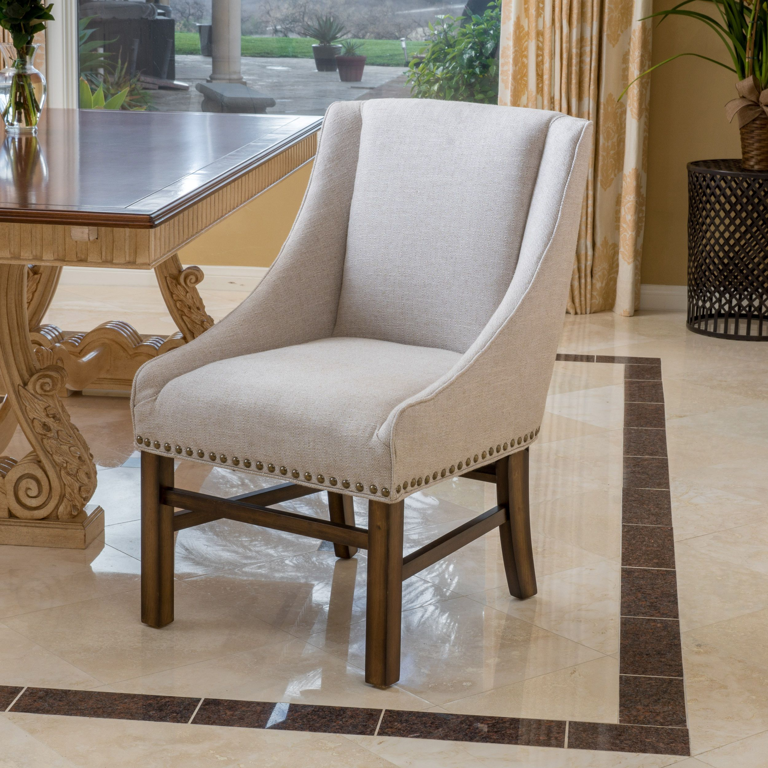 Swell Noble House Jordan Natural Fabric Dining Chair Color Natural Machost Co Dining Chair Design Ideas Machostcouk