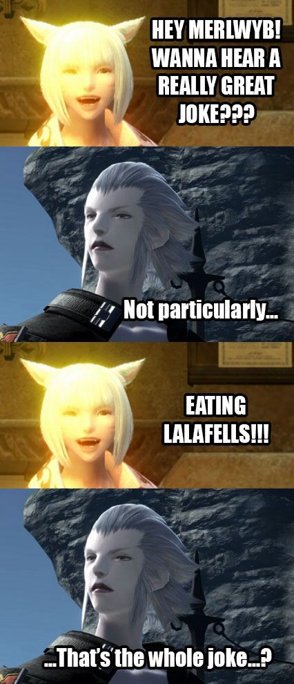 Merlwyb Just A Joke About Eating Lalafells Click For Entire Meme